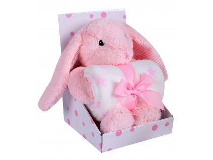 Dárkový set - dětská hračka KRÁLÍČEK s mikrovláknovou dekou růžová 75X100 cm