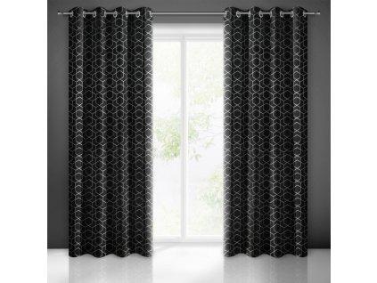 Dekorační vzorovaný velvet závěs MANDA černá (1 kus) 135x250 cm, MyBestHome