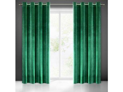 Dekorační jednobarevný velvet závěs s kroužky MY BEST (1 kus) 140x250 cm, zelená, MyBestHome