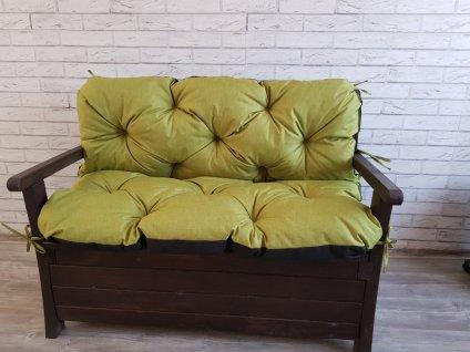 Prošívané sezení ELIAS - set sedáků na zahradní lavici - barva olivová, různé rozměry, Mybesthome
