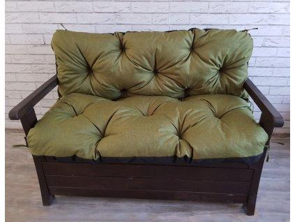 Prošívané sezení ELIAS, polstr na zahradní lavici - sedák s opěrkou, ZELENÁ, různé rozměry, Mybesthome