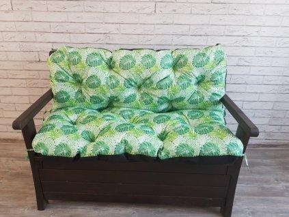 Prošívané sezení MARKUS - vzor monstera - set sedáků na zahradní lavici -  různé rozměry, Mybesthome
