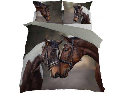 Povlečení 3D KONĚ I. francouzské povlečení, 1x 200x220 cm, 2x povlak 70x80 cm MyBestHome