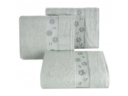 Bavlněný froté ručník s bordurou DACOTA 50x90 cm, stříbrná, 450 gr Mybesthome