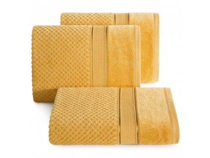 Bavlněný froté ručník s proužky JESSICA 50x90 cm, mustard/hořčicová, 500 gr Mybesthome