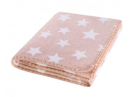 Dětská deka HAPPY STAR béžová s hvězdičkami 80x90 cm Mybesthome