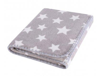 Dětská deka HAPPY STAR stříbrná s hvězdičkami 80x90 cm Mybesthome