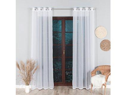 Dekorační záclona WOAL (1 kus) bílá s kroužky 140x260 cm MyBestHome
