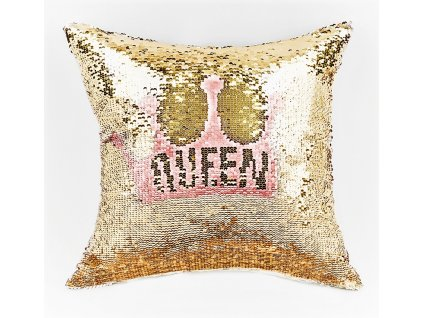 Polštář QUEEN růžová/zlatá 40x40 cm MyBestHome