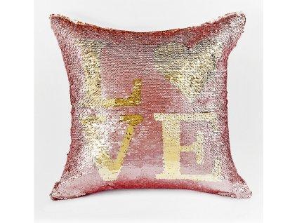 Polštář LOVE růžová/zlatá 40x40 cm MyBestHome