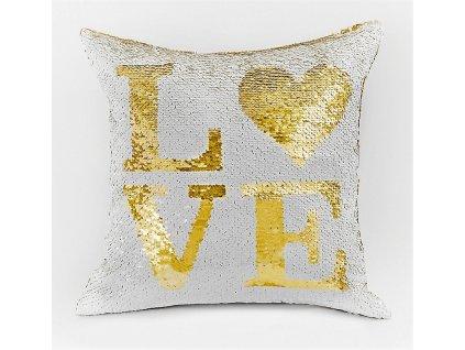 Polštář LOVE bílá/zlatá 40x40 cm MyBestHome
