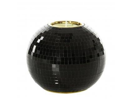Svícen na čajovou svíčku KATTY černá/zlatá 12x12x10 cm Mybesthome
