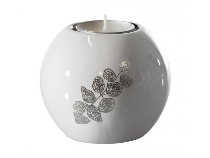 Svícen na čajovou svíčku ALIA bílá 9x9x8 cm Mybesthome