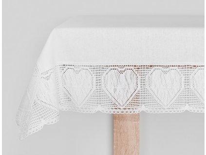 Bavlněný ubrus - běhoun na stůl NELA, více rozměrů, bílá, Mybesthome