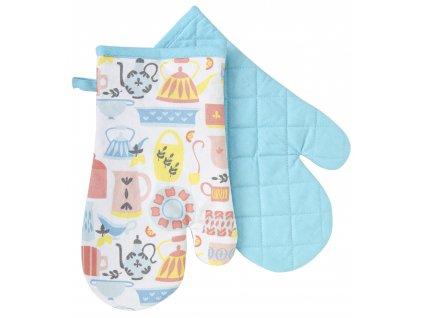 Kuchyňské bavlněné rukavice - chňapky AMELIA modrá, 100% bavlna 19x30 cm Essex