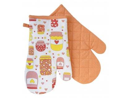 Kuchyňské bavlněné rukavice - chňapky AMELIA oranžová, 100% bavlna 19x30 cm Essex