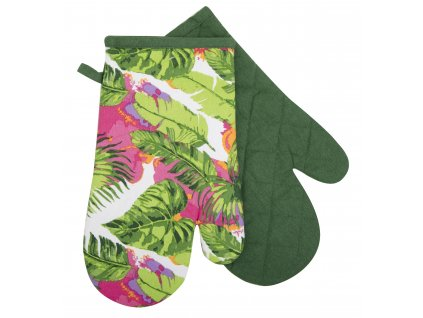 Kuchyňské bavlněné rukavice - chňapky PLANTA zelená, 100% bavlna 19x30 cm Essex