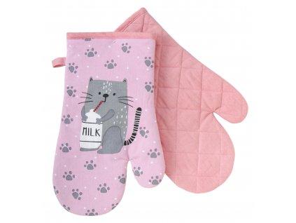 Kuchyňské bavlněné rukavice - chňapky FELIX růžová, 100% bavlna 19x30 cm Essex