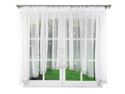 Dekorační krátká záclona se zirkony CAROLINE bílá 400x150 cm MyBestHome