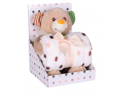 Dárkový set - dětská hračka MEDVÍDEK s mikrovláknovou dekou hnědá 75X100 cm