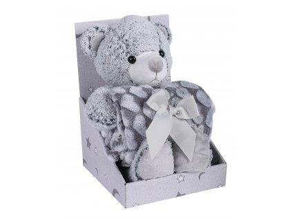 Dárkový set - dětská hračka MEDVÍDEK s mikrovláknovou dekou šedá 75X100 cm