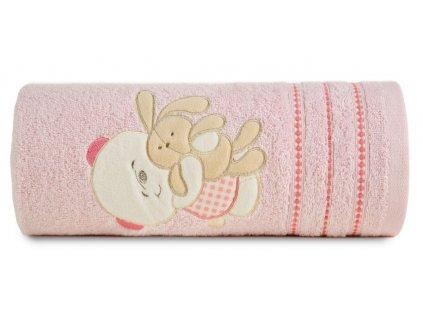 Bavlněný froté ručník s dětským motivem KAMARÁDI růžová 50x90 cm, 450 gr Mybesthome
