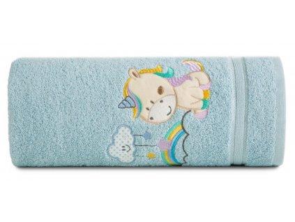 Bavlněný froté ručník s dětským motivem JEDNOROŽEC modrá 50x90 cm, 450 gr Mybesthome
