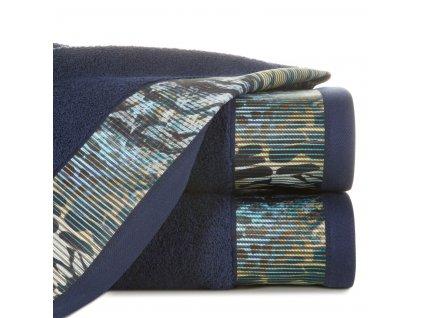 Bavlněný froté ručník s bordurou CARLA 50x90 cm, modrá, 500 gr Eva Minge