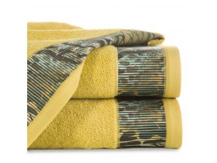 Bavlněný froté ručník s bordurou CARLA 50x90 cm, mustard/hořčicová, 500 gr Eva Minge