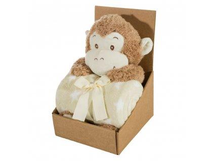 Dárkový set - dětská hračka OPIČKA s mikrovláknovou dekou béžová 75X100 cm