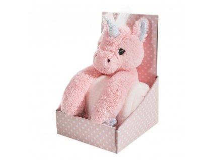 Dárkový set - dětská hračka JEDNOROŽEC s mikrovláknovou dekou růžová 75X100 cm