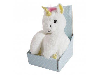 Dárkový set - dětská hračka JEDNOROŽEC s mikrovláknovou dekou bílá 75X100 cm
