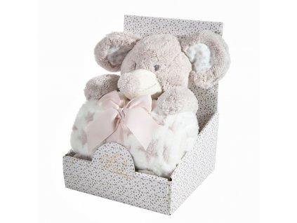 Dárkový set - dětská hračka SLŮNĚ s mikrovláknovou dekou šedá 75X100 cm