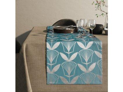 Ubrus - běhoun na stůl FLORA modrá 40x140 cm Mybesthome