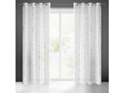 Dekorační vzorovaná záclona FAZZA bílá/stříbrná 140x250 cm (cena za 1 kus) MyBestHome
