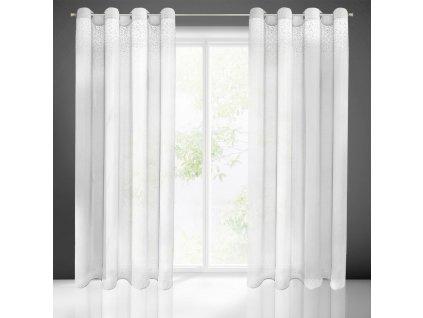Dekorační vzorovaná záclona MADLEN bílá 140x250 cm (cena za 1 kus) MyBestHome