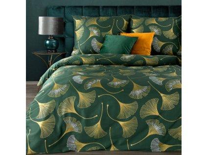 Povlečení BLANKET zelená 100% saténová bavlna 1x 200x220 cm, 2x povlak 70x80 cm francouzské povlečení MyBestHome