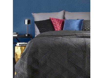 Luxusní přehoz na postel DENIS černá 220x240 cm Mybesthome