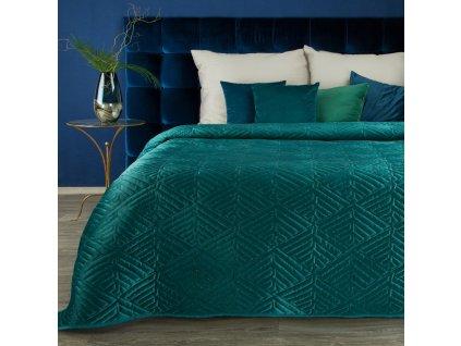 Luxusní přehoz na postel DENIS tyrkysová 220x240 cm Mybesthome