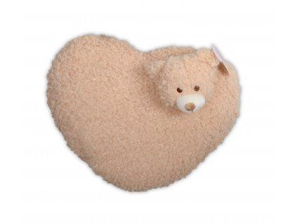 Polštářek tvarovaný HEART - MEDVÍDEK  mikrovlákno 35 cm, Essex