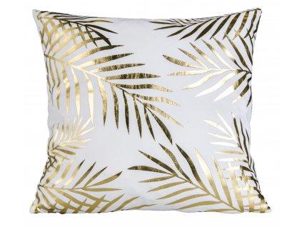 Polštář GOLD SHINE vzor palmové listy 45x45 cm Essex