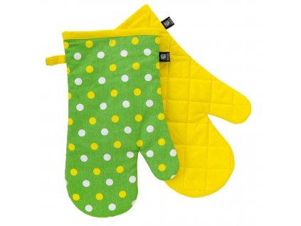 Kuchyňské bavlněné rukavice - chňapky PRIMAVERA žlutá/zelená 100% bavlna 19x30 cm Essex