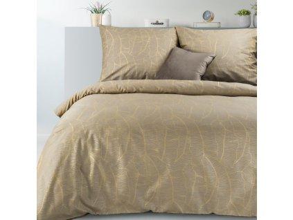 Povlečení METALIC 100% saténová bavlna, béžová, 1x 200x220 cm, 2x povlak 70x80 cm francouzské povlečení MyBestHome