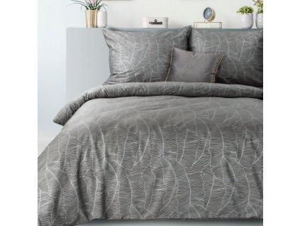 Povlečení METALIC 100% saténová bavlna, šedá, 1x 200x220 cm, 2x povlak 70x80 cm francouzské povlečení MyBestHome