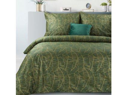 Povlečení METALIC 100% saténová bavlna, zelená, 1x 200x220 cm, 2x povlak 70x80 cm francouzské povlečení MyBestHome