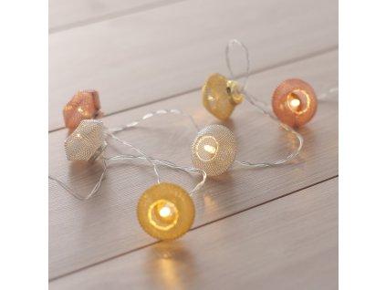Dekorační světelný řetěz s kovovými lampičkami 165 cm