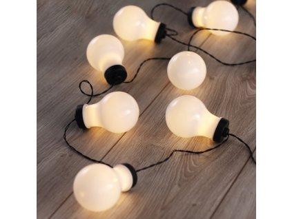 Dekorační světelný řetěz s ozdobnými mléčnými žárovkami 220 cm