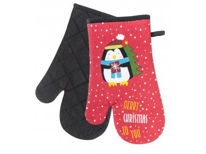 Kuchyňské rukavice chňapky SWEET CHRISTMAS motiv tučňák 18x30 cm Essex