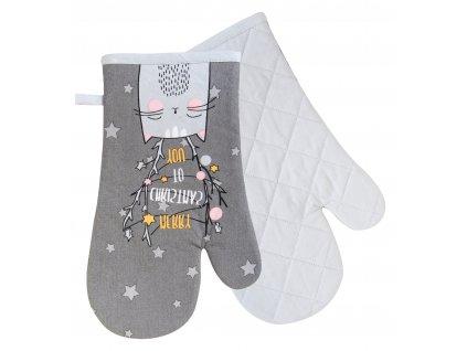 Kuchyňské rukavice chňapky SWEET CHRISTMAS motiv kočka 18x30 cm Essex