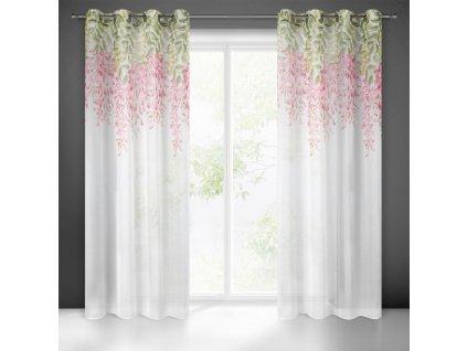 Dekorační vzorovaná záclona FRIDA I. bílá/růžová 140x250 cm (cena za 1 kus) MyBestHome